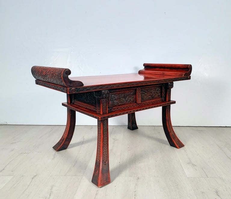 Japanese Carved and Red Lacquer Kamakura-Bori Altar Table, Mid-19th Century For Sale 11