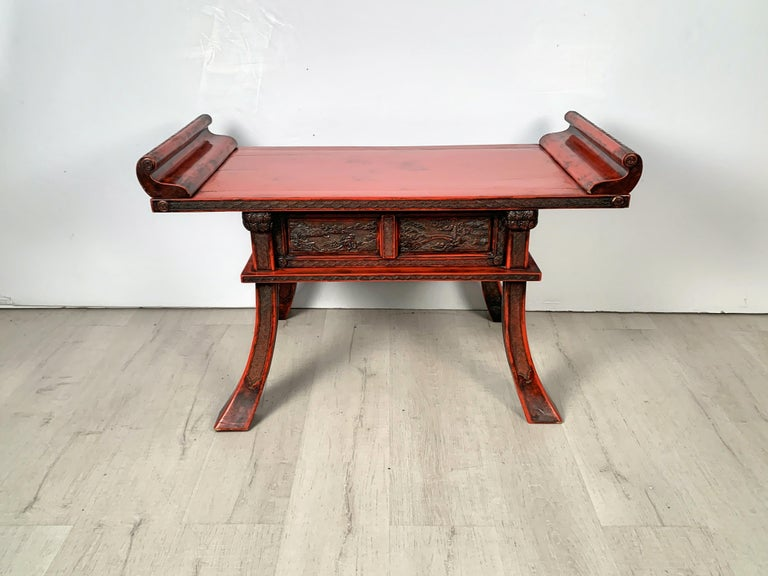 Japanese Carved and Red Lacquer Kamakura-Bori Altar Table, Mid-19th Century For Sale 12