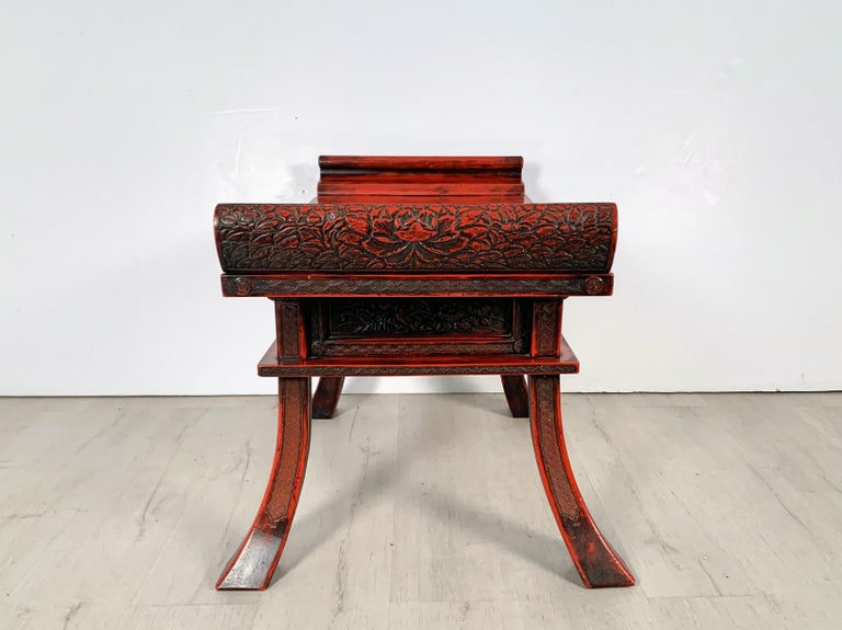 Meiji Japanese Carved and Red Lacquer Kamakura-Bori Altar Table, Mid-19th Century For Sale