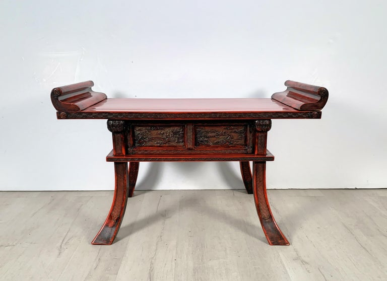Lacquered Japanese Carved and Red Lacquer Kamakura-Bori Altar Table, Mid-19th Century For Sale