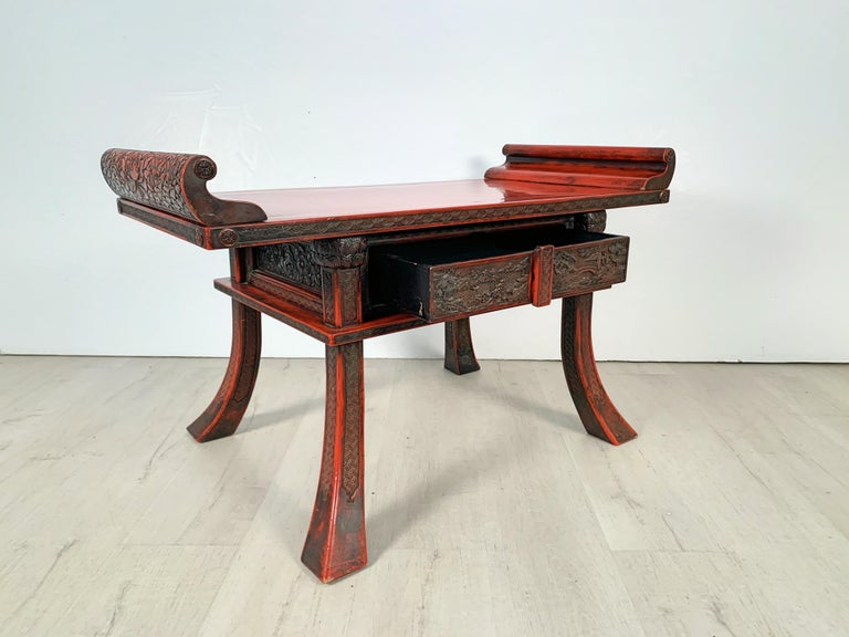 Japanese Carved and Red Lacquer Kamakura-Bori Altar Table, Mid-19th Century In Good Condition For Sale In Austin, TX