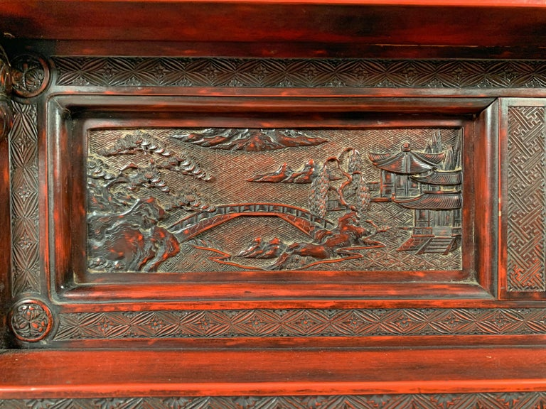 Softwood Japanese Carved and Red Lacquer Kamakura-Bori Altar Table, Mid-19th Century For Sale