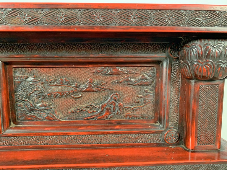 Japanese Carved and Red Lacquer Kamakura-Bori Altar Table, Mid-19th Century For Sale 1