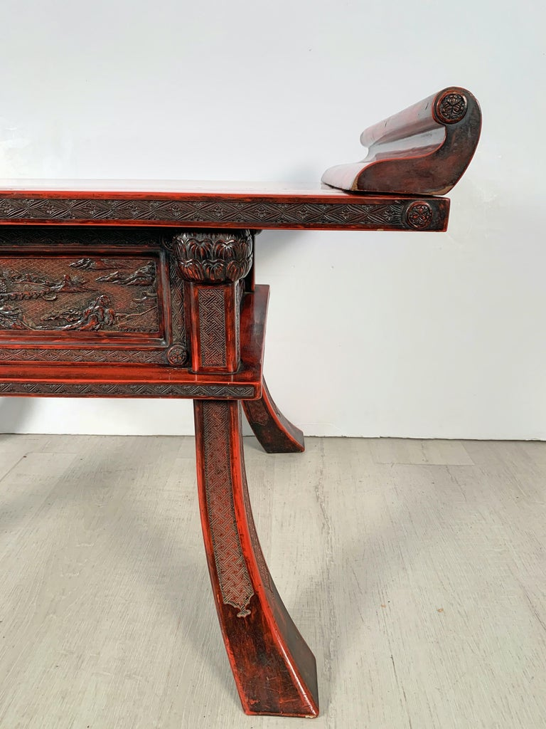 Japanese Carved and Red Lacquer Kamakura-Bori Altar Table, Mid-19th Century For Sale 2