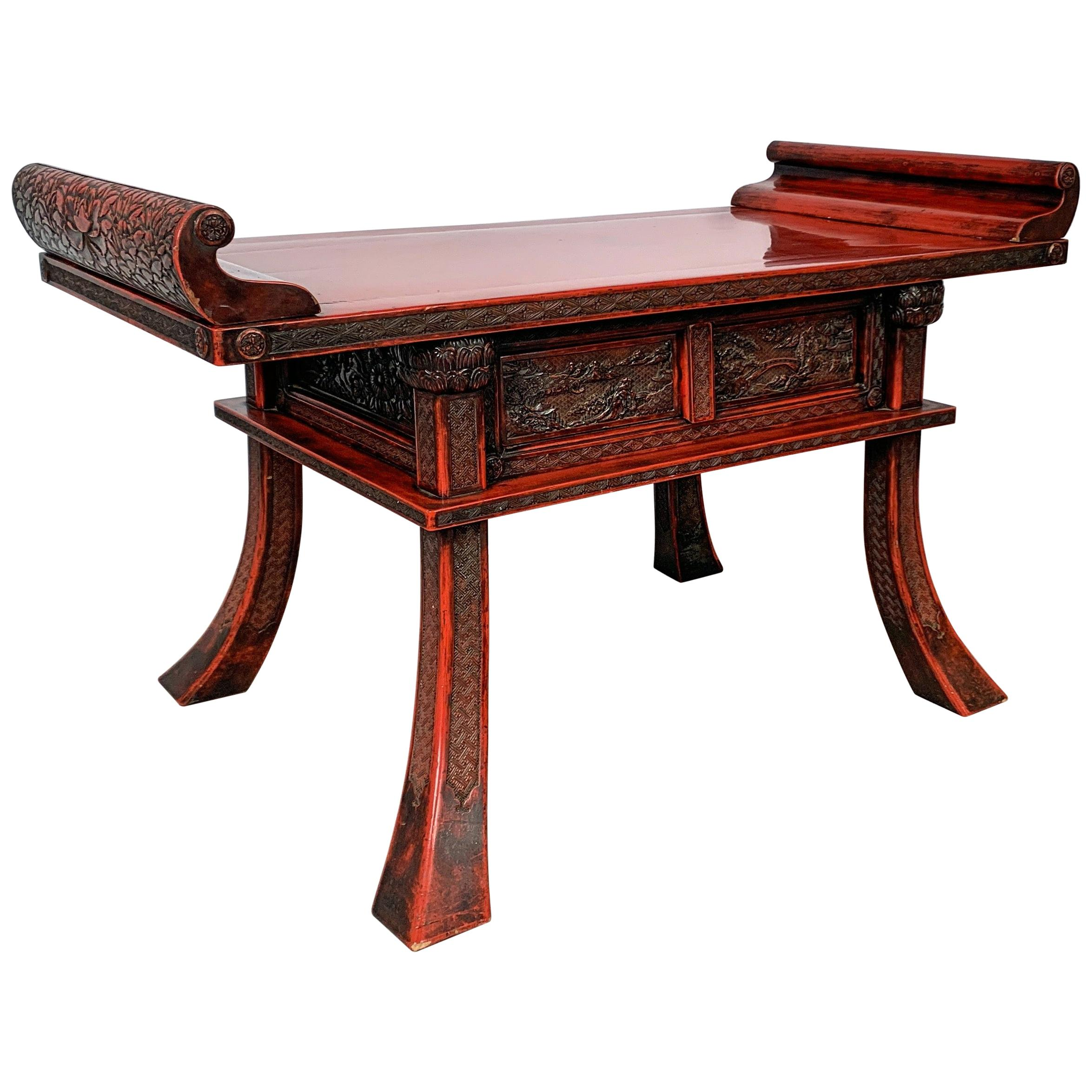 Japanese Carved and Red Lacquer Kamakura-Bori Altar Table, Mid-19th Century