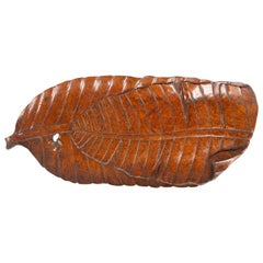 Japanese Carved Burl Banana Leaf Tray