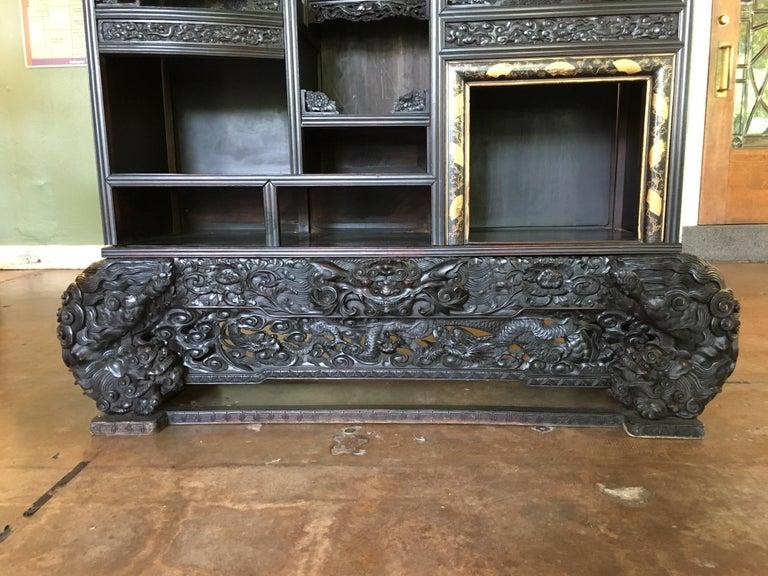 Ebonized Japanese Carved Dragon Display Cabinet, Shodana, Meiji Period, Late 19th Century For Sale