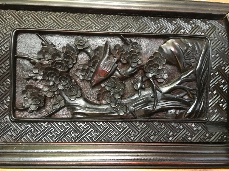 Japanese Carved Dragon Display Cabinet, Shodana, Meiji Period, Late 19th Century In Good Condition For Sale In Austin, TX