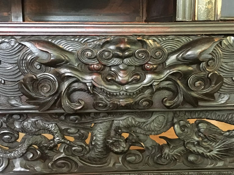 Wood Japanese Carved Dragon Display Cabinet, Shodana, Meiji Period, Late 19th Century For Sale