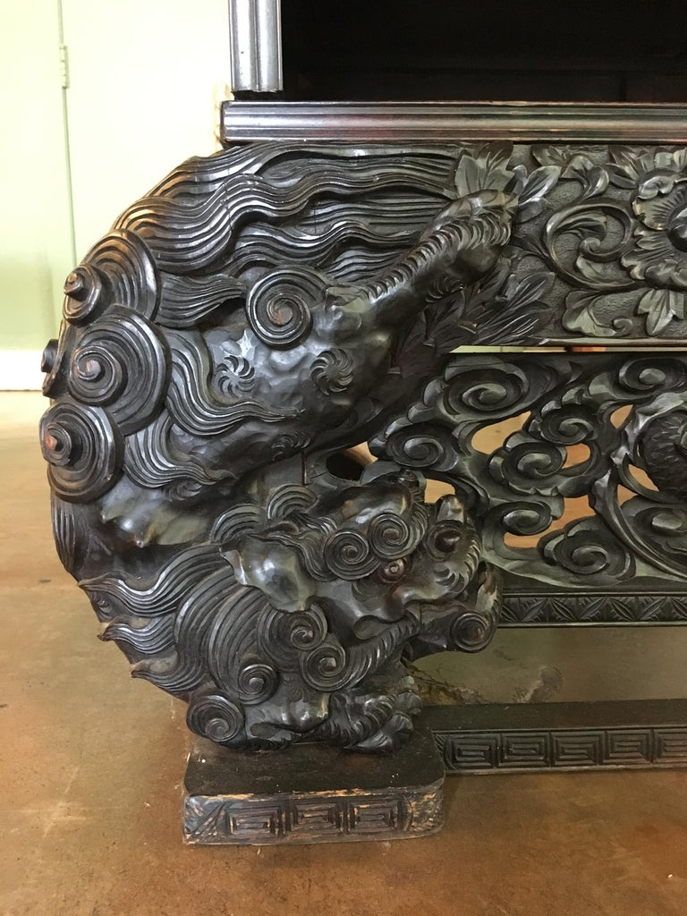 Japanese Carved Dragon Display Cabinet, Shodana, Meiji Period, Late 19th Century For Sale 3