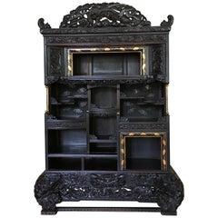 Japanese Carved Dragon Display Cabinet, Shodana, Meiji Period, Late 19th Century