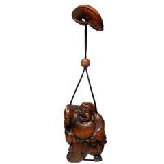 Japanese Carved Netsuke Box Wood Sennin Buddha Meiji Period 1868-1912 Pill Box
