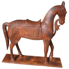 Japanese Carved Wood Horse
