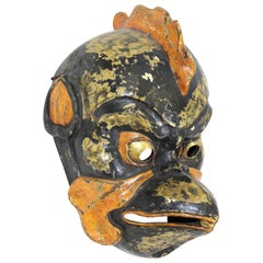 Japanese Carved Wood Mask of Tengu