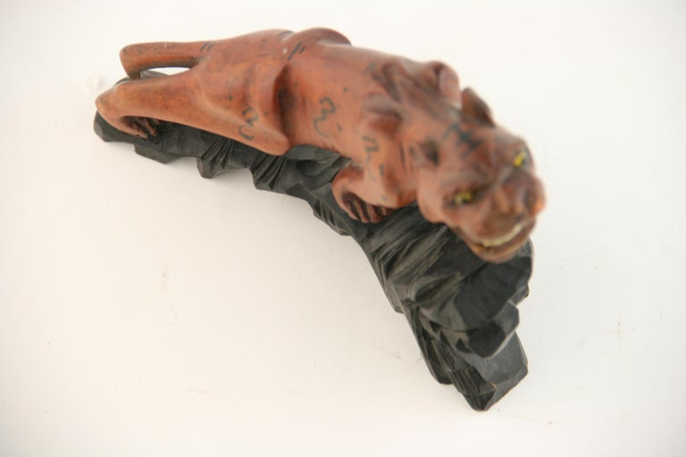 Japanese Carved Wood Tiger with Glass Eyes, circa 1920s For Sale 7