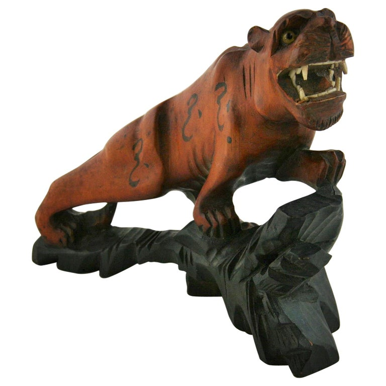 Japanese Carved Wood Tiger with Glass Eyes, circa 1920s For Sale