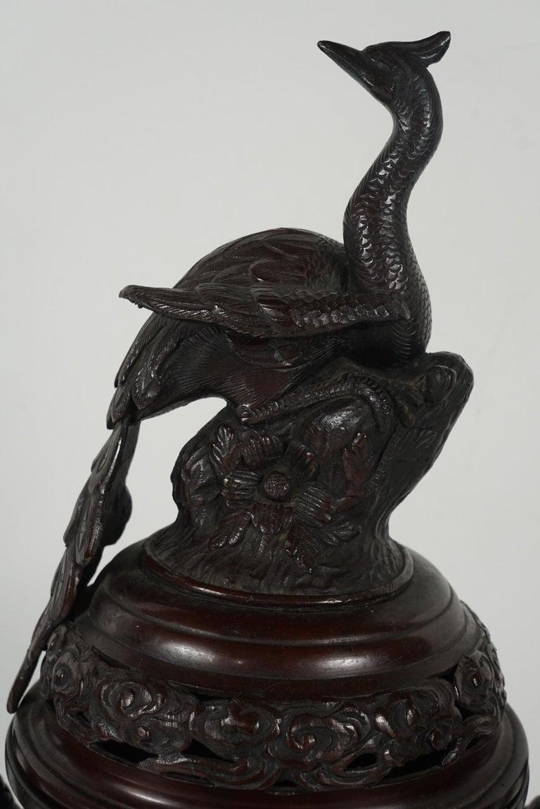 19th Century Japanese Cast Bronze Meiji Period Incense Burner For Sale