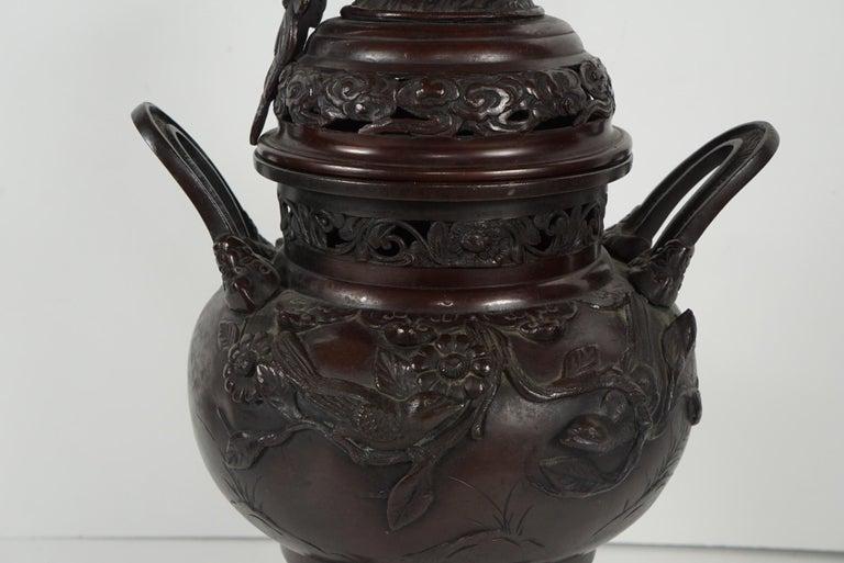 Japanese Cast Bronze Meiji Period Incense Burner For Sale 2