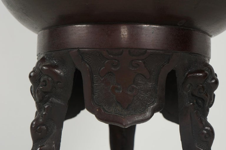 Japanese Cast Bronze Meiji Period Incense Burner For Sale 3