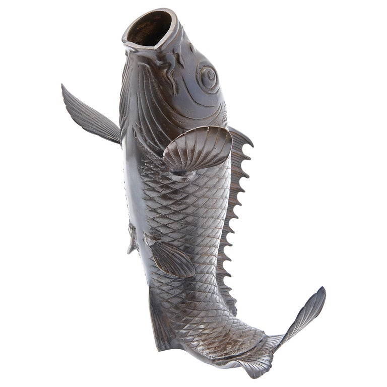 Japanese Cast Bronze Vase in the Form of a Carp, Mid-20th Century For Sale