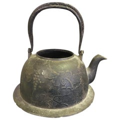 Japanese Cast Iron Floral Tea Kettle Water Pot Tetsubin, Late 19th Century