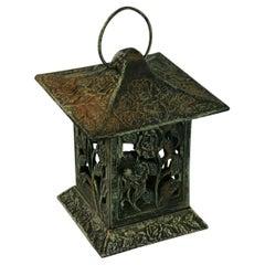Japanese Garden Cast Iron Pagoda Candle Lantern 1950