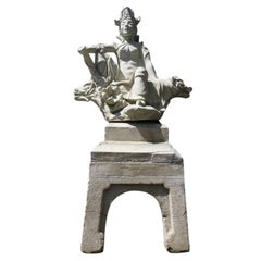 Japanese Cast Stone Warrior Statue, circa 1930