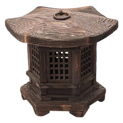 Japanese Cedar Hexagonal Garden Lantern with Lattice Windows, Meiji Period