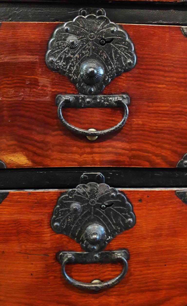 Japanese Cedar / Elm Tansu, Edo Period, Mid-18th Century For Sale 7
