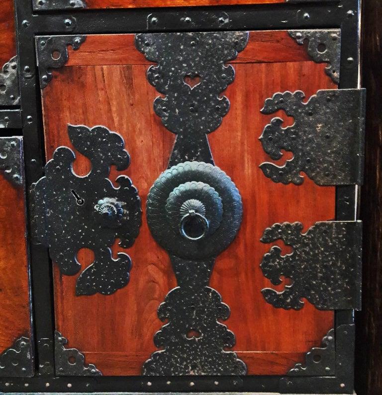Metal Japanese Cedar / Elm Tansu, Edo Period, Mid-18th Century For Sale
