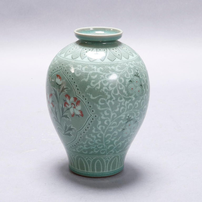 Hand-Painted Japanese Celadon Foliate & Floral Decorated Porcelain Signed Vase, 20th Century For Sale