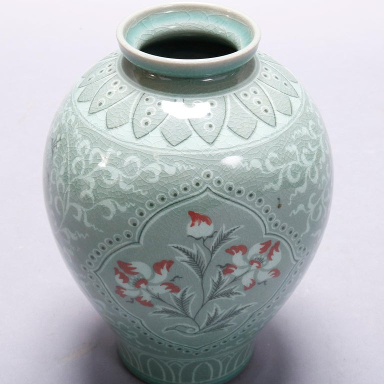 Japanese Celadon Foliate & Floral Decorated Porcelain Signed Vase, 20th Century In Good Condition For Sale In Big Flats, NY