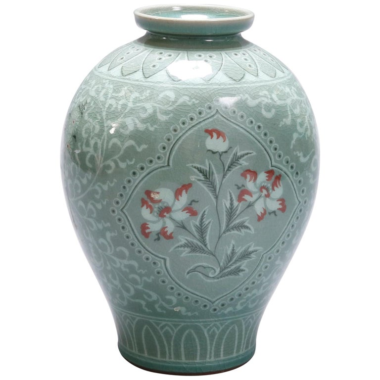 Japanese Celadon Foliate and Floral Decorated Porcelain ...