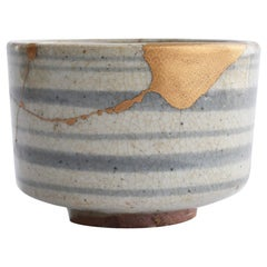 Japanese Ceramic 1600s Early Karatsu Ware Kintsugi Bowl / Ring Pattern Chawan