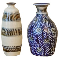 Japanese Ceramic Bottle Vase / Sake Flask with Blue Decoration, Japan, 2016