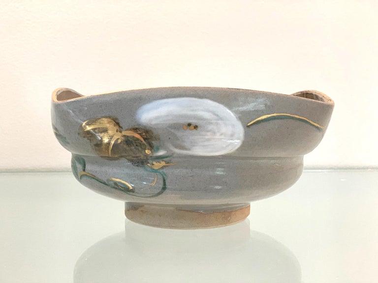 Early 20th Century Japanese Ceramic Bowl Makuzu Kozan Utusushi Kenzan For Sale
