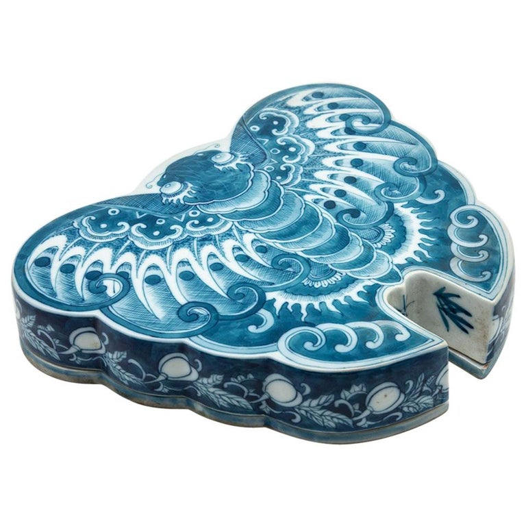 Japanese Ceramic Butterfly Box For Sale