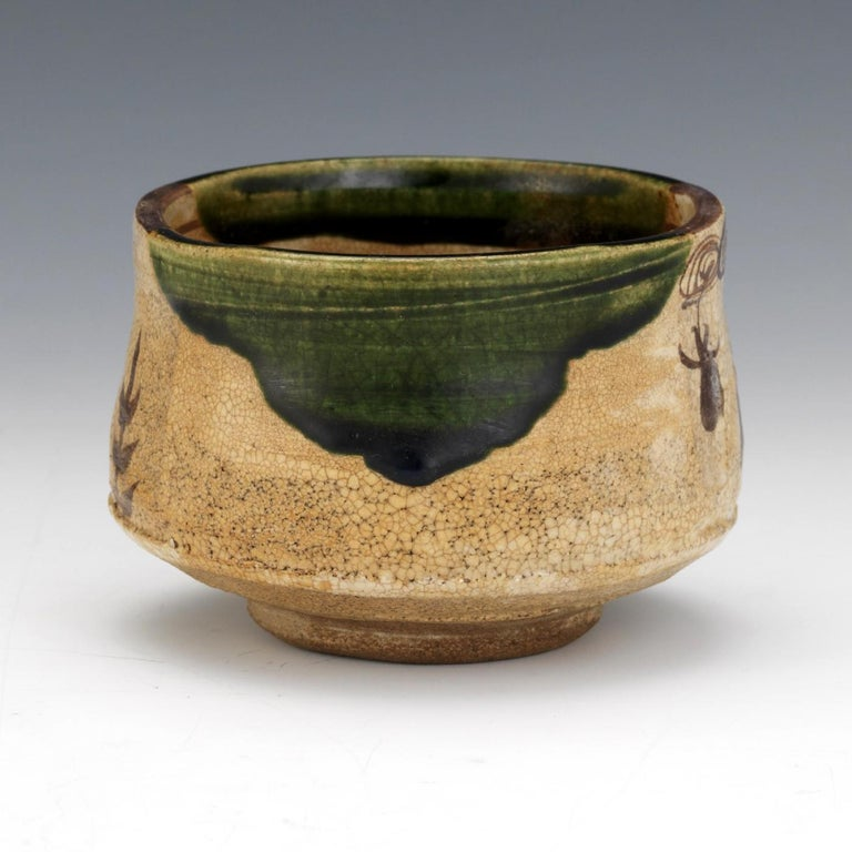 Japonisme Japanese Ceramic Oribe Tea Bowl Chawan For Sale