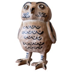 Japanese Ceramic Owl Sculpture, 1950s