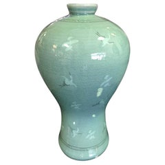 Korean Celadon Ceramic  Green Crackle Glazed Signed Stamped Vase with Cranes