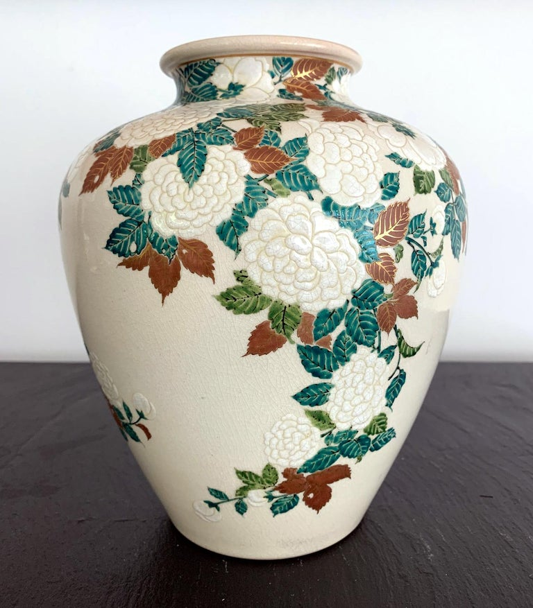 Japanese Ceramic Vase by Ito Tozan I Meiji Period In Good Condition For Sale In Atlanta, GA