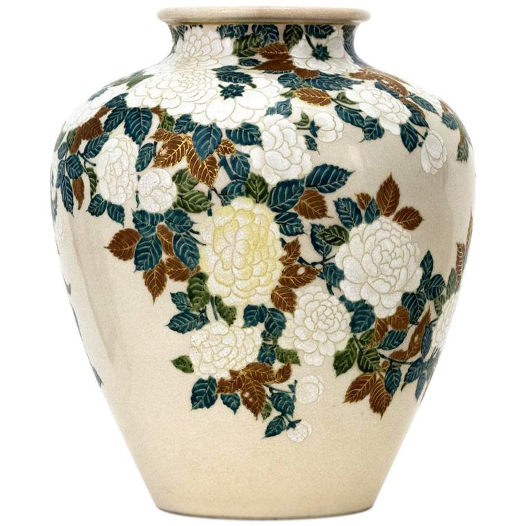 Japanese Ceramic Vase by Ito Tozan I Meiji Period For Sale