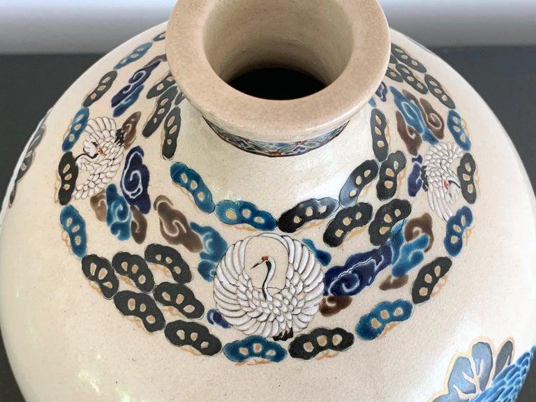 Japanese Satsuma Kyoto Ware Ceramic Vase Meiji Period In Good Condition For Sale In Atlanta, GA
