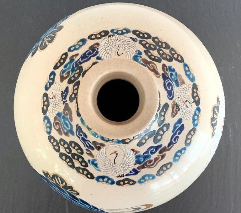 Late 19th Century Japanese Satsuma Kyoto Ware Ceramic Vase Meiji Period For Sale