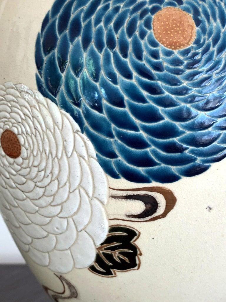 Japanese Satsuma Kyoto Ware Ceramic Vase Meiji Period For Sale 3