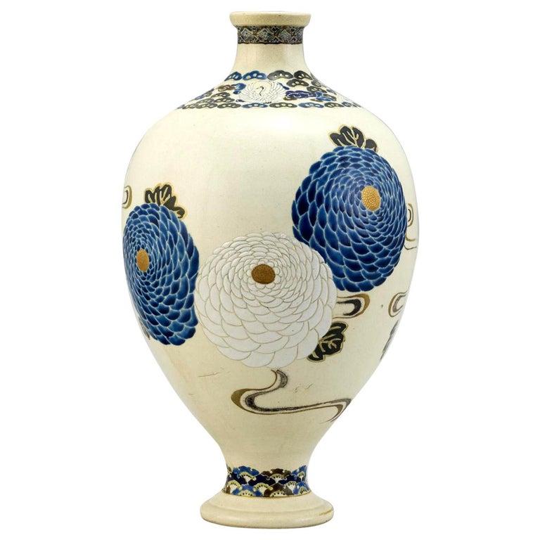 Japanese Satsuma Kyoto Ware Ceramic Vase Meiji Period For Sale