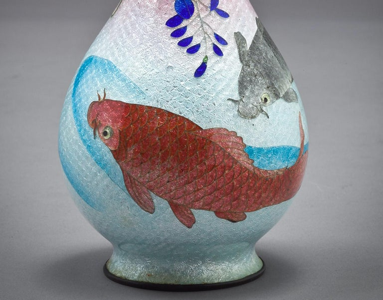 Cloissoné Japanese Cloisonne Bud Vase, Meiji Period, circa 1880 For Sale
