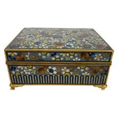 Japanese Cloisonne Jewelry Vanity Box Engraved Bronze Interior