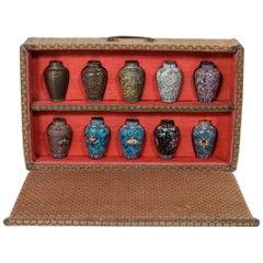 Japanese Cloisonné Sample Set, Comprising 10 Small Metal Vases