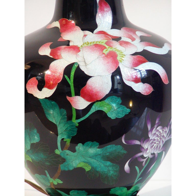 20th Century Japanese Cloisonne Vase Table Lamp For Sale